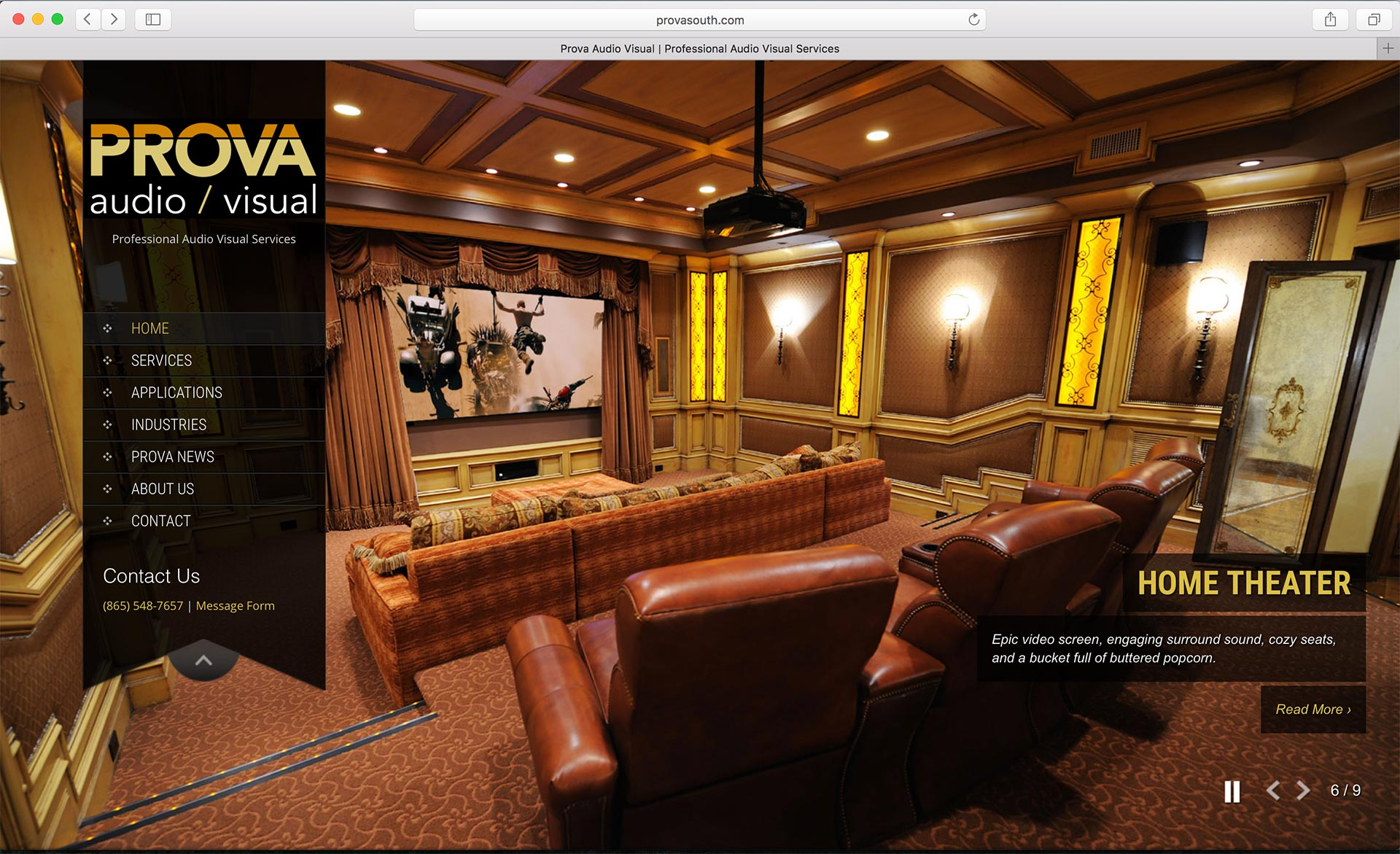 Prova Audio Visual Homepage